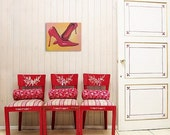 Red Stiletto Shoes - original painting on canvas - Great gift for the home office or apartment