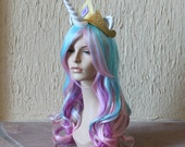 Princess Celestia costume cosplay wig - blue purple pink wig / my little pony cosplay / unicorn / friendship is magic