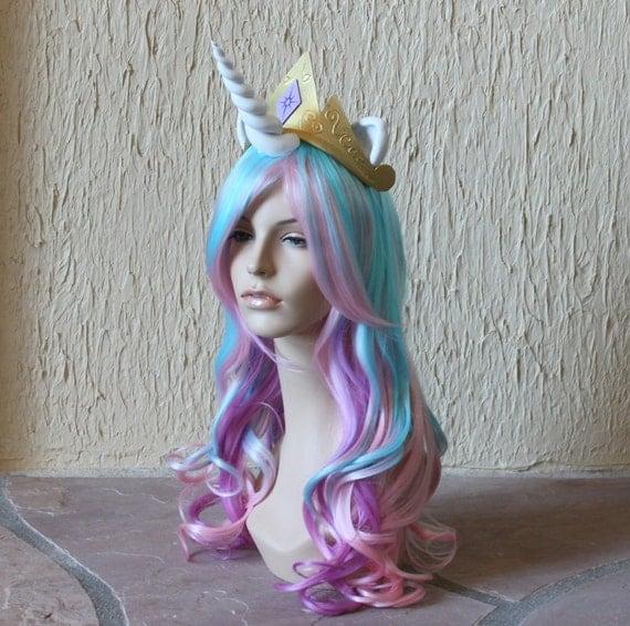 Items similar to Princess Celestia costume cosplay wig ...
