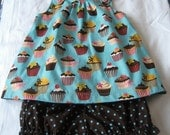Baby Cupcake Dress with co-ordinating polka dot bloomers - 12M