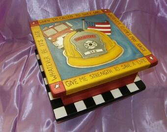 WOODEN KEEPSAKE BOX - God Box - Gratitude box - Keepsake  Box -  Memory box -  firefighter box - Custom Order