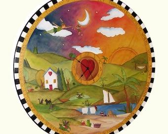 "Clock 24"" Round/ Wall clock/ Kitchen Clock/ Office clock/ Custom Made"