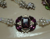 RESERVED For Jenny- Dark Amethyst Vintage Piece Incorporated into Amazing Rhinestone and Crystal Choker