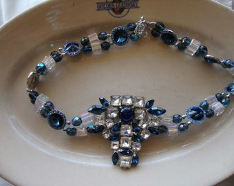 Divine Vintage Dark Blue Rhinestone Dress Clip and Crystal Beaded Choker Necklace-