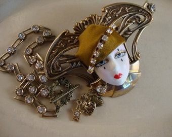 Nouveau Flapper Gal Resin Face On Brass Casting Necklace - OOAK