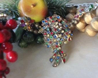 Large Multi Colored Flower Vintage Dress Clip Necklace