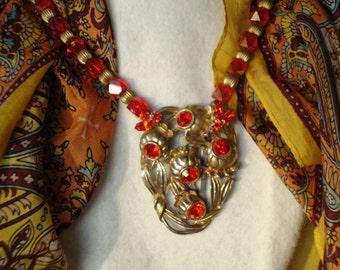 Large Art Nouveau Orange Rhinestone Flower and Leaves Dress Clip Necklace WOW