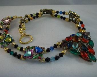 Vintage Multi Color Rhinestone Dress Clip Choker Necklace - SHOW STOPPER