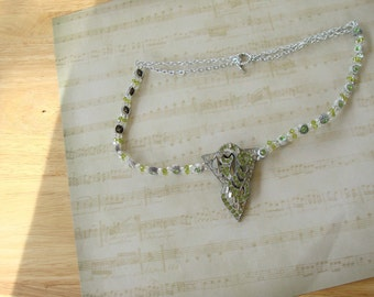 Spring Green Rhinestone and Crystal Beaded Vintage Dress Clip Necklace -