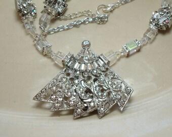 Art Deco Rhinestone Fan Vintage Dress Clip Necklace-