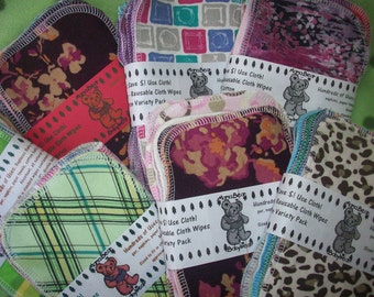 MamaBear Reusable Cloth Wipes (Unpaper) Set - Cotton Velour - Baker's Dozen
