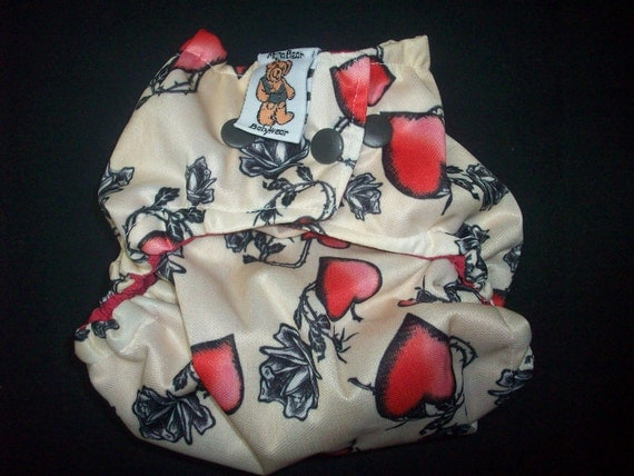 MamaBear BabyWear Waterproof Diaper Cover, Wrap One Size Fits All - Tattoo Love