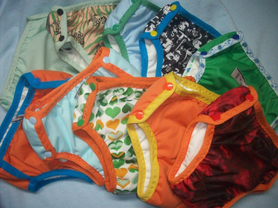 Set of 3 MamaBear Training Pants, one size fits most - Waterproof Prints and Solids Mix