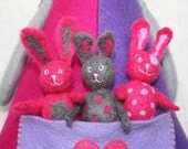 """SALE! Felted Toy Set """"The Rabbit Family"""" ooak art toys, unique toy, rabbit doll, rabbit toys, toy familie, gift for children"""