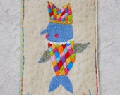 """Hand Embroidery Wall Art  - """"Hello, Nose Fish"""""""