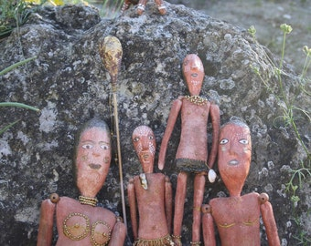 OOAK Art Doll Set  Aborigenes Family. Naive Art. Primitive Art. Naive Art Doll. Doll Family. Unique art doll gift.