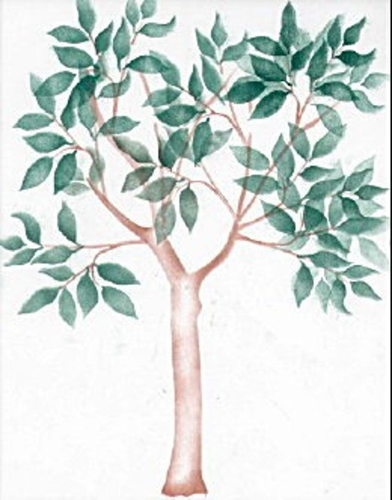 Pochoir mural arbre grandeur nature par elegantstencils for Pochoir arbre