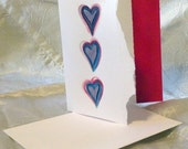 Three Hearts Hand Painted Cards - Set of 8
