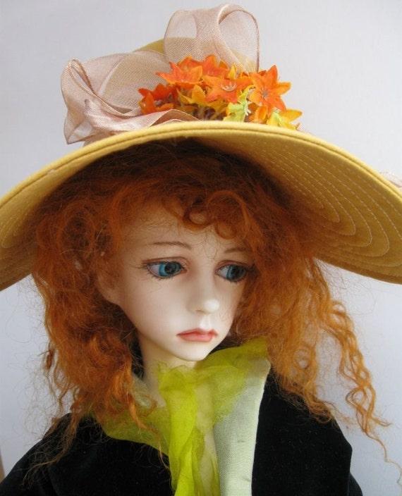 Doll Hat for BJDs - Brown-Mustard Cotton 3/4 Brim