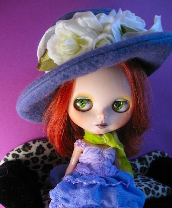 Doll Hat for Blythe - Purple Sage Wool