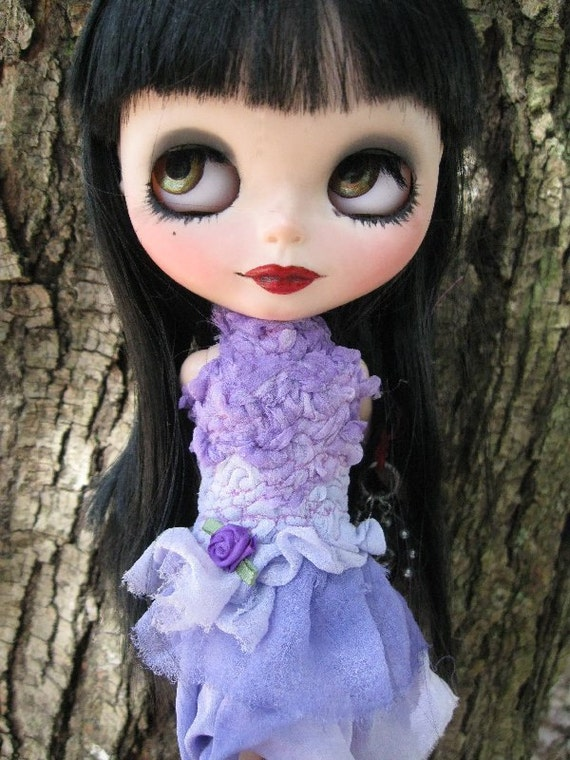 OOAK Silk Lavender/Periwinkle Shades Party Dress for Blythe or Pullip