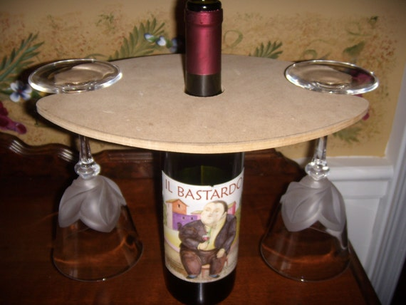 Wood Over The Wine Bottle Tray Rack Holder For 2 By