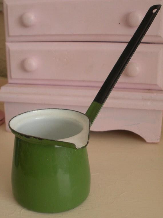 Green Enamelware Butter Warmer