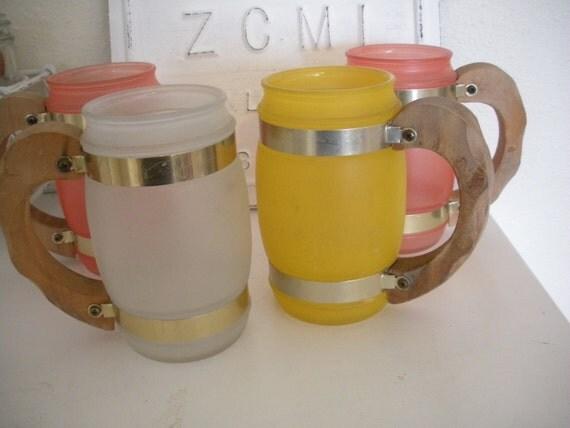 Siesta Ware Vintage Mugs with Cool Wood Handles