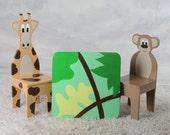 NEW - iChart Kids Table with 2 Animal Chairs (Childrens Table) - Safari Themed