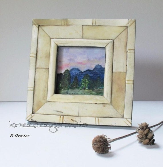 Miniature Landscape Painting watercolor in bone frame sunrise mountains trees 3x3 home decor