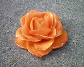 REAL SOFT ORANGE ROSE PIN and PENDANT