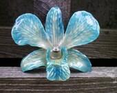 REAL NATURAL SHADES of BLUE ORCHID PIN, BROOCH
