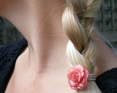 REAL SMALL PINK TEA ROSE BOBBY PIN, HAIR PIECE