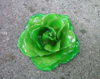 Free Shipping REAL Emerald Green ROSE Pin and Pendant