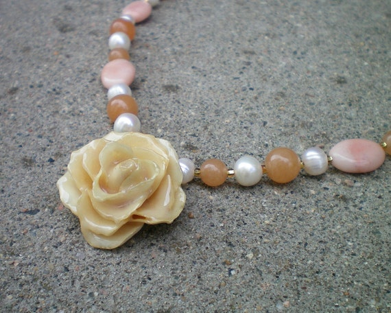 Reserved: REAL Small Cream TEA ROSE and Peach Opal, Aventurine, Pearl Sterling Silver Necklace