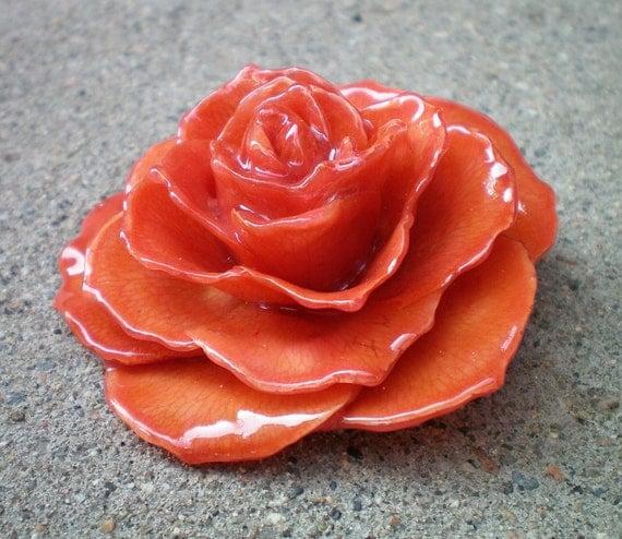 REAL Pumpkin Orange ROSE Pin and Pendant
