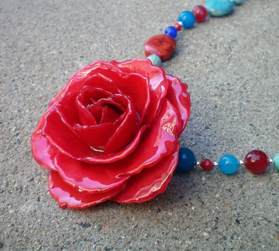 REAL Ruby Red ROSE and Turquoise, Jade and Coral Sterling Silver Necklace