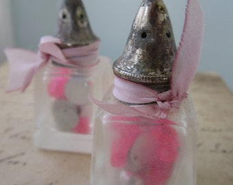 Vintage Glass Shakers of Silver Dragees Beads and Sequins