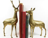 Vintage Brass Deer Buck Stag Doe Large Bookends Retro Home Decor PeachyChicBoutique