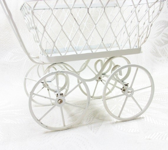 Vintage baby buggy decoration stroller perambulator cart white for Baby carriage decoration