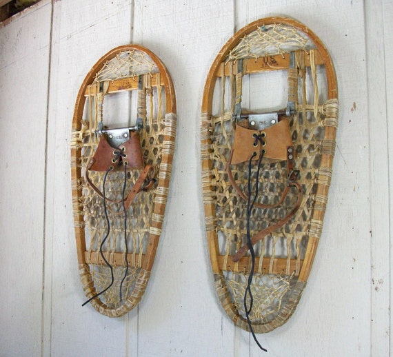 RESERVED Antique 1945 US Lund Snowshoes Leather Metal PeachyChicBoutique on Etsy