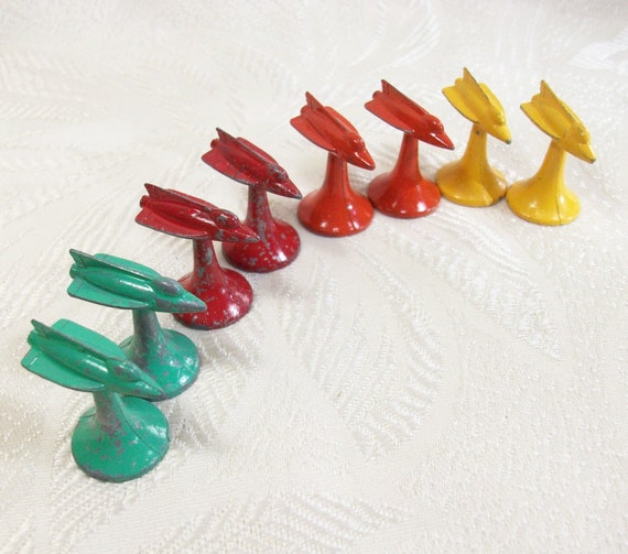 Vintage Rocket Ship Metal Game Pieces Airplane 1950s Red Aqua PeachyChicBoutique on Etsy