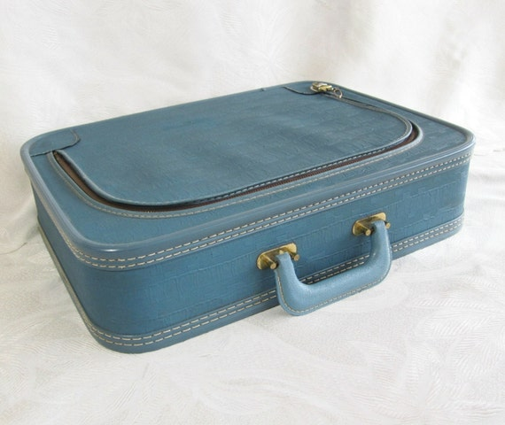 Vintage Suitcase Blue Travel Metal Zipper Storage Carrying Case Lock PeachyChicBoutique on Etsy