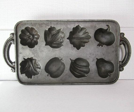 Vintage John Wright Cast Iron Muffin Pan Harvest Fruit