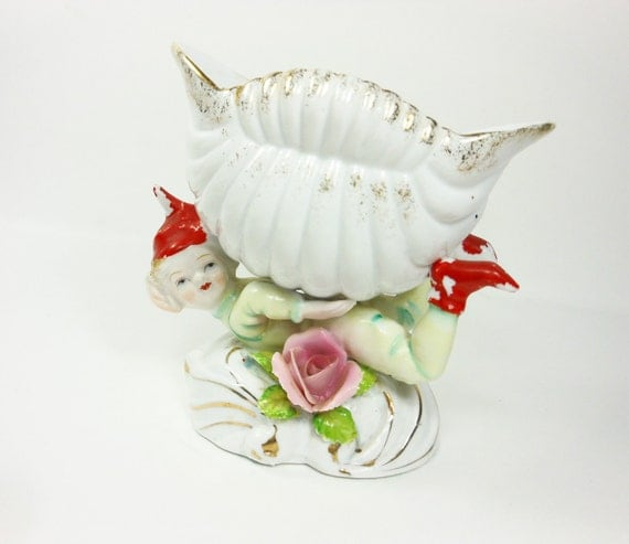RESERVED for THEWIREDBEAD Vintage Elf Sprite Brownie Pixie Planter Vase Bowl Sea Shell Japan Porcelain PeachyChicBoutique on Etsy