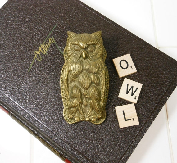 Vintage Brass Owl Paperweight Clip Desk Accessory Animal Figure PeachyChicBoutique on Etsy