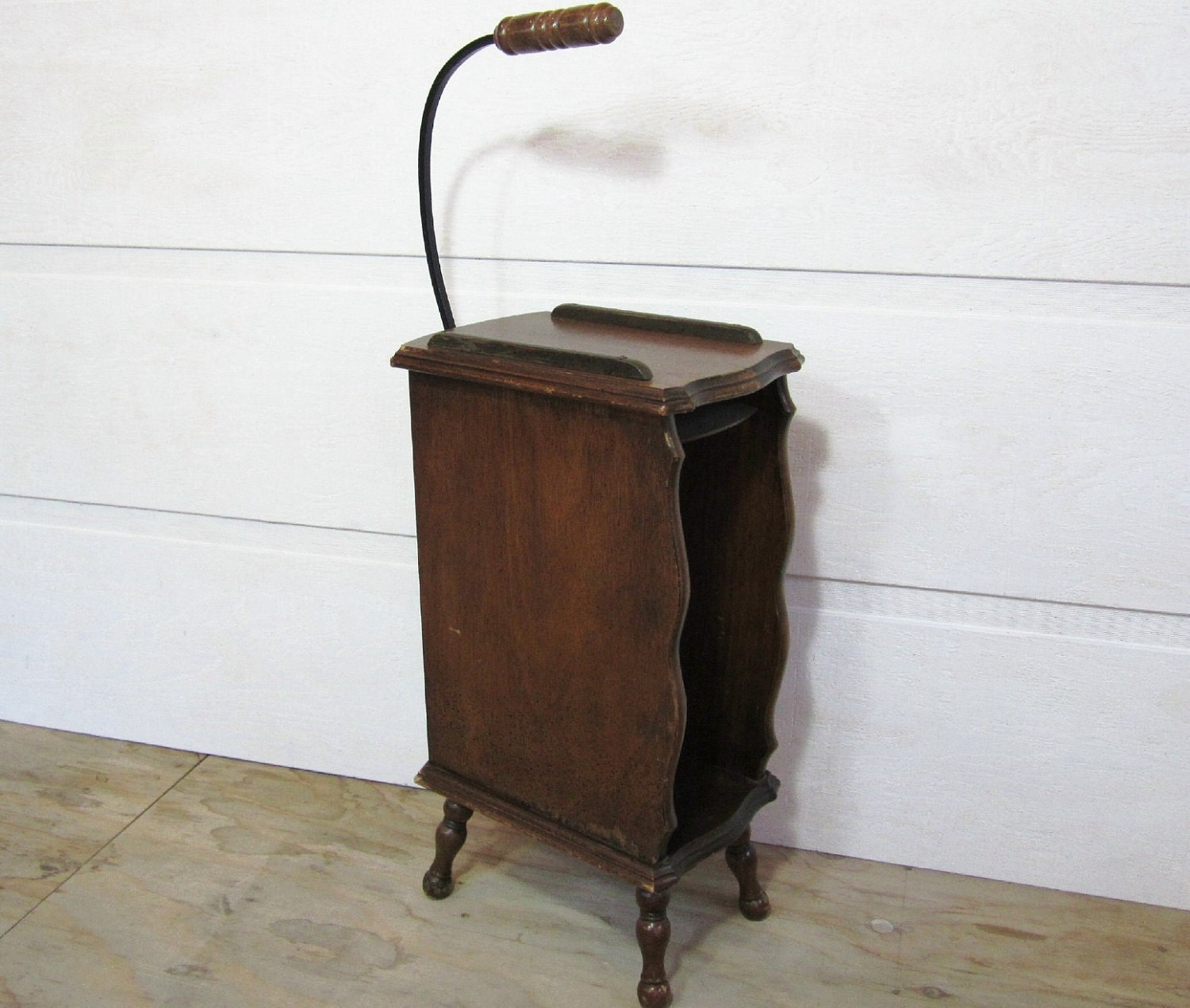 Vintage telephone table wood walnut brown carrying handle home