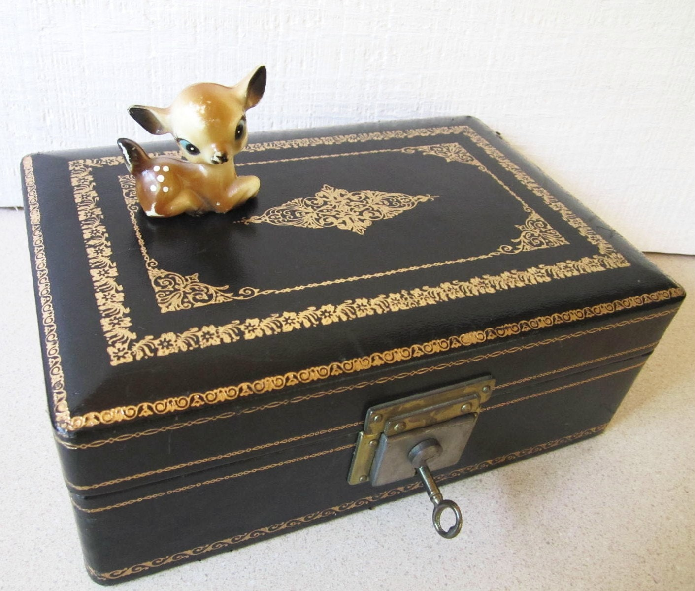 vintage jewelry box blue velvet key lock mid century home