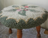 Wool Floral Hooked Foot Stool