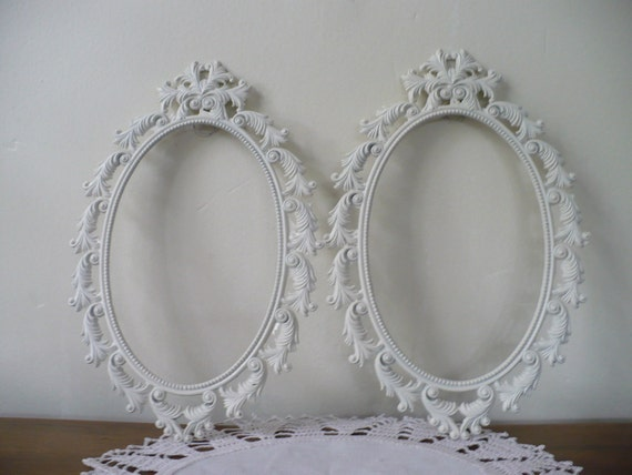 Ornate Pair of Italian Oval Metal Frames in Cottage White